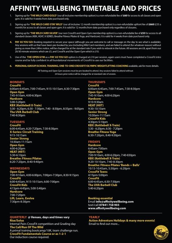 Affinity Timetable 2019 Autumn